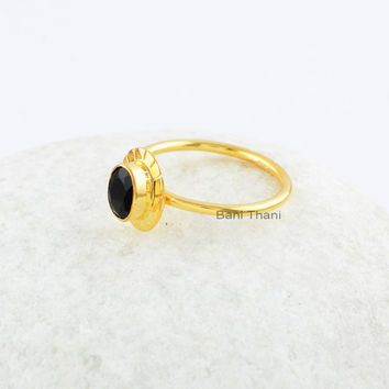 Black Stone Ring-Black Onyx Ring,Oval Cut Engagement Ring,Gold Plated Sterling Silver Ring,Black Onyx Chistmas Ring Jewelry,5x7 mm-Stone