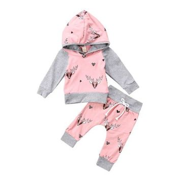 Mauve & Gray Deer & Diamonds Hoodie & Pants 2pc Outfit