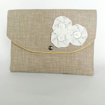 beige clutch bag, cotton purse, crocheted flowers bag, envelope clutch