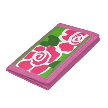 pink roses on a wallet.. tri-fold wallet