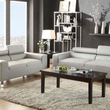 Poundex F7265 2 pc chelsea ii collection grey bonded leather sofa and love seat set with adjustable headrests