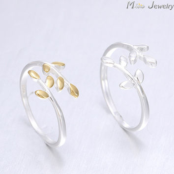 New Arrivals Gold Silver Leaves Plain 925 Silver Rings Adjustable Open Ring For Girl Women Rings Gift Jewelry