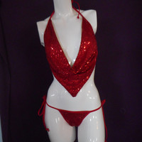 red sequin drape cowl top with sequin scrunch butt bottoms ,exotic dancewear ,stripper outfit ,club wear ,unique stage costume