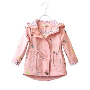 Trendy 2017 Spring Autumn Trench Coat For Girls Flower Embroidery Children's Jackets Outerwear Fashion Kids Girl Cotton Hooded Clothes AT_94_13