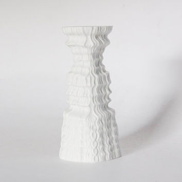 Modernist Porcelain 'Plissée' Tall White Candle Holder - M. Freyer for Rosenthal 1970s
