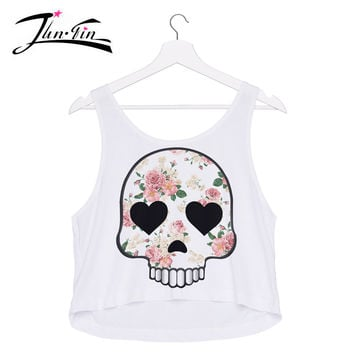 emoji roses skull tank Top 3D print fashion  sexy lady loved design  crop tops  elastic fabric  Women's T-shirt Tee