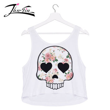emoji roses skull tank Top  2016 3D print fashion  sexy lady loved design  crop tops  elastic fabric  Women's T-shirt Tee