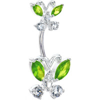Sterling Silver 925 Peridot Austrian Crystal Butterfly Belly Ring | Body Candy Body Jewelry