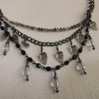Smoky Quartz, Crystal, Hematite, and Sterling Silver Leaf Necklace