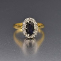Fine 18K Gold Sapphire & Diamond Engagement Ring