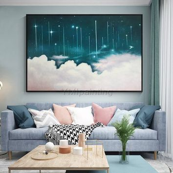Abstract paintings on canvas original scenery blue painting cloud and Starry sky wall pictures large painting home decor cuadros abstractos