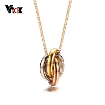 Vnox Interlocked 3 Colors Circle Women Choker Necklaces Triple Knot Pendant Party Jewelry Stainless Steel