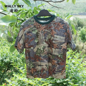 Men Bionic Camouflage Short-sleeve T-shirt Breathable Green Leaves Cotton Fishing Hunting Leafy Camo T-Shirt