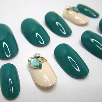 Stick On 3D Nails Emerald Gems Oval by NailKandy on Etsy