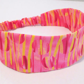 Pink Lemonade Wide Headband for Women - Reversible Fabric Headband for Teens - Wide Cotton Headband - Wrap Around Headband