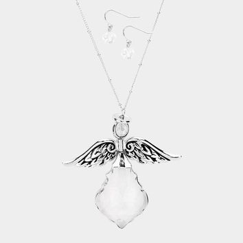 Crystal Angle Wing Dramatic Pendant Necklace