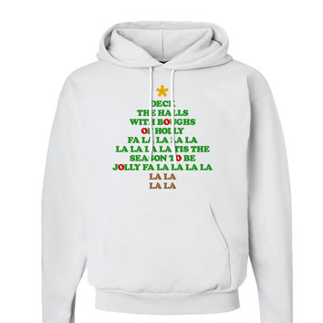Deck the Halls Lyrics Christmas Tree Hoodie Sweatshirt