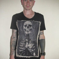 MENS Skeleton T-Shirt, William, Scooped Neck, GREY, S/M/L/XL