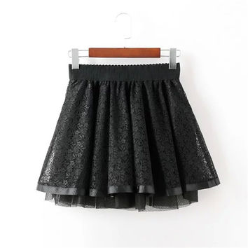 Women's Fashion Summer Lace Mosaic Dress Skirt [4920296004]