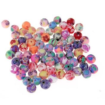 200pcs 8mm Mix Color printing Polymer Clay Fimo Spacer Loose Beads For Handmade Jewelry Making Accessories