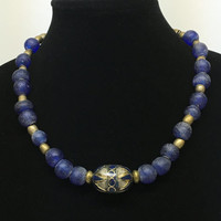 Tuscany Artisan Blue Glass Bead Necklace with Turkish Gold and Lapis Accent Piece