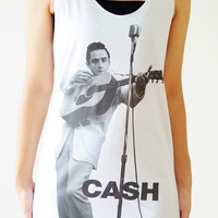 S,M,L -- JOHNNY CASH Shirts Country Rock Shirts Women Shirts Vest Women Tank Top Women Tunics Top Women Sleeveless Singlet Top White Shirts