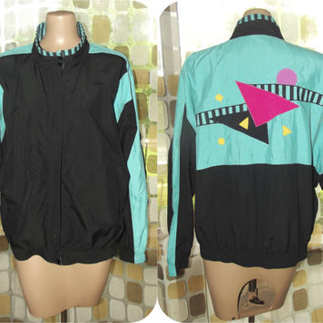 Vintage 80s Windbreaker Jacket | 90s Windbreaker | Geometric Colorful Jacket | Vaporwave | Triangles | TAIL | Sz Large | Teal Black Pink