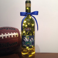 Notre Dame wine bottle lamp, Indiana football decor, NCAA lamp, Fighting Irish, accent lamp, nightlight