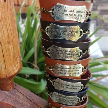 Genuine Leather Metal Saying Cuff