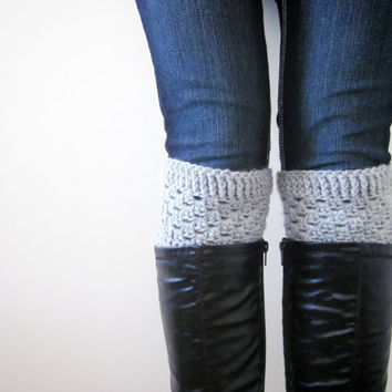 Crochet Boot Cuffs Luxe Cuffs Socks Boot Toppers in Light Gray