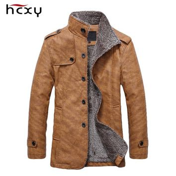 HCXY Brand Men's Winter Jacket Men PU Leather Motorcycle Warm Jackets Plus velvet Windbreaker Male Casual Long Coat 4XL