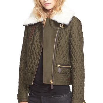 Women's Burberry Brit 'Weatherford' Quilted Jacket with Genuine Shearling Collar,