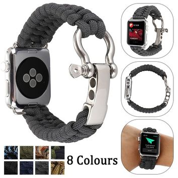 Woven Rope Watch Strap For Apple Watch Band 42mm 38mm Survival Outdoors Nylon Strap With Whistle For Iwatch 3/2/1