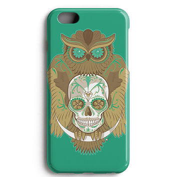 Green Owl Skull Phone Case