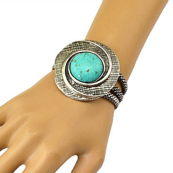 Bohemian Vintage Style Turquoise Tibetan Silver Plated Snake Chain Bracelet (Color: Green)