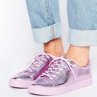ASOS DARLEY Metallic Clean Lace Up Trainers at asos.com