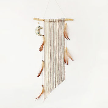 Boho dream catcher, autumn decor, wall hanging, brown, gray, moon dreamcatcher, nursery mobile, home decor, modern, minimalist, handmade