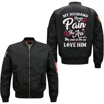 My Husband Is A Pain Men's Vintage Bomber Flight Jacket