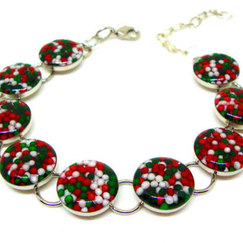 Christmas Bracelet, Sprinkles Bracelet, Candy Bracelet, Holiday Jewelry, Sprinkles Bracelet, Red and Green Jewelry, Christmas Jewelry
