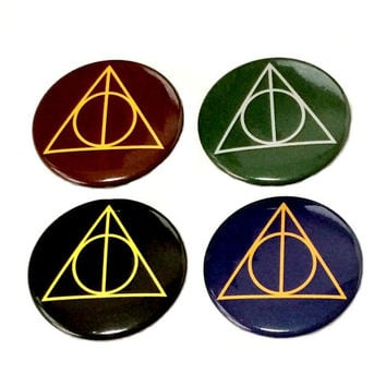 Hogwarts House Deathly Hallows Button Pin
