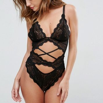 ASOS Elsie Metallic Lace Strappy Body at asos.com