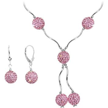 Sterling Silver Pink Crystal Ball Drop Necklace and Earring Set