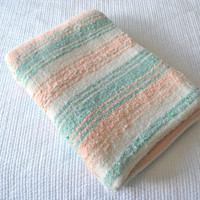 Mexican Southwestern Blanket / 1980s / teal and peach