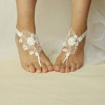 bride ivory lace,  flowers, wedding sandals,bridal accessories, barefoot sandals, bridesmaids!  N-4A