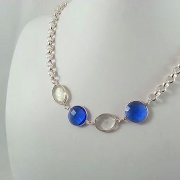 Station Necklace//Blue Necklace//Gemstone Choker//Station Choker//Ippolita Style//Birthstone Necklace