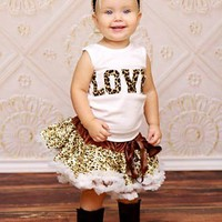Glitzy Cheetah LOVE Tutu Set