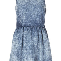 MOTO Acid Denim Dress - Denim  - Clothing