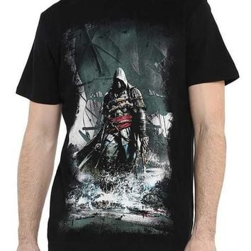 Assassins Creed Black Half Sleeve Men T-Shirt