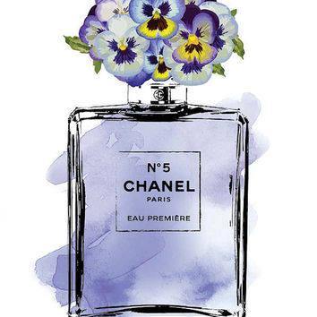 Coco Chanel No5 print 8.5x11 Purple pansy flower, pansies watercolor Instant download. Coco Chanel Chanel poster Chanel Art Printable Chanel