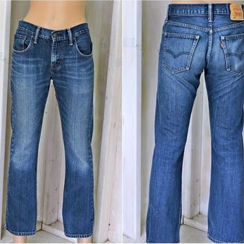 Vintage Levis 527 jeans 29 X 30 / size 5 / 6 / 90s LEVI'S  / dark wash / mid rise / faded / bootcut  jeans